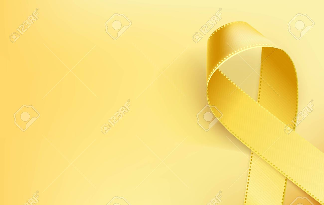 Childhood Cancer Awareness Ribbon. Realistic yellow ribbon, childhood cancer awareness symbol, isolated on yellow background. Vector illustration - 93007582