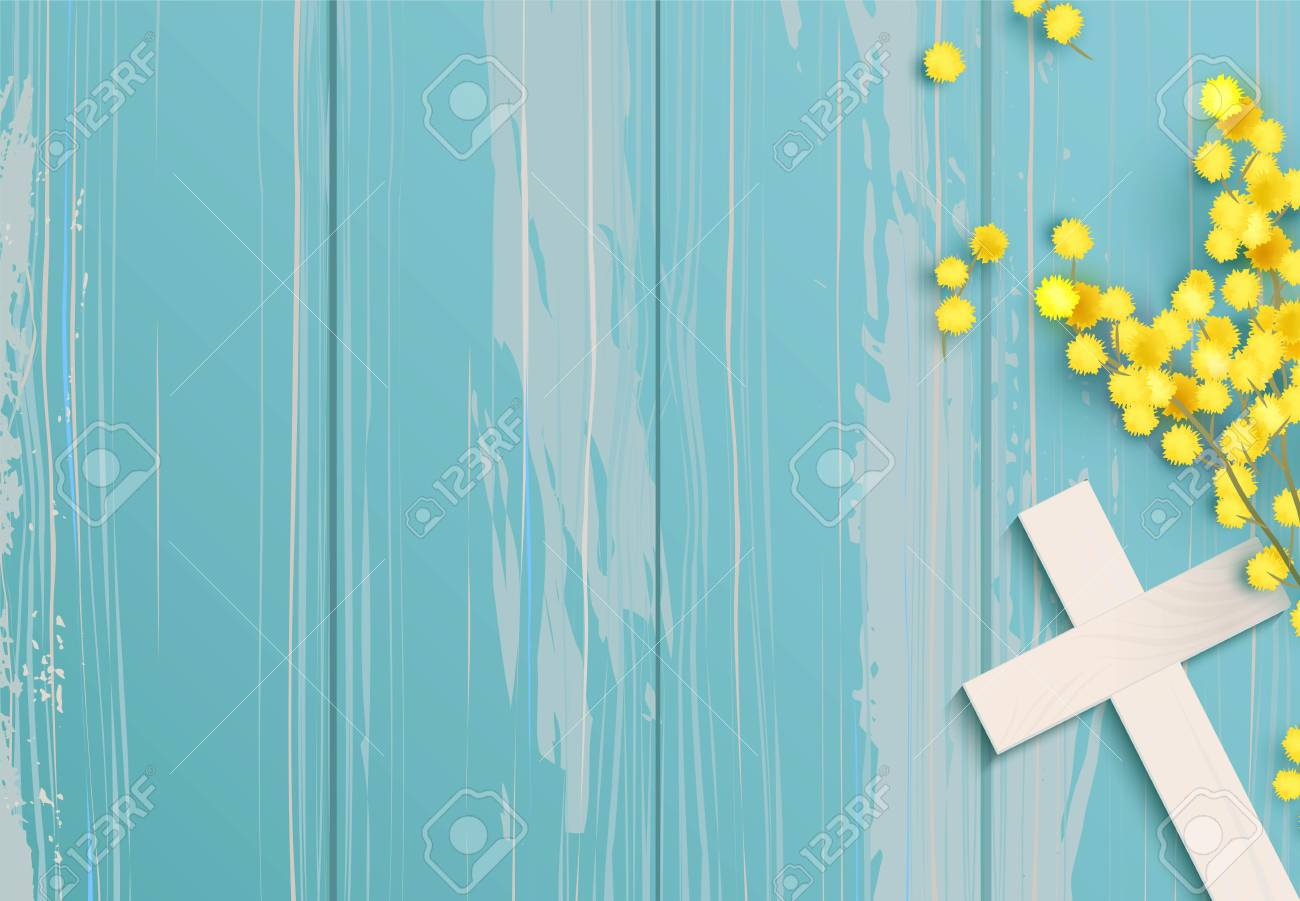 White cross and mimosa on blue rustic wooden background. - 99286353