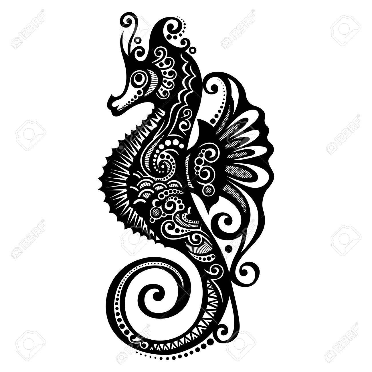 Diseño Del Vector Del Caballo De Mar Con Dibujos Ilustraciones ...