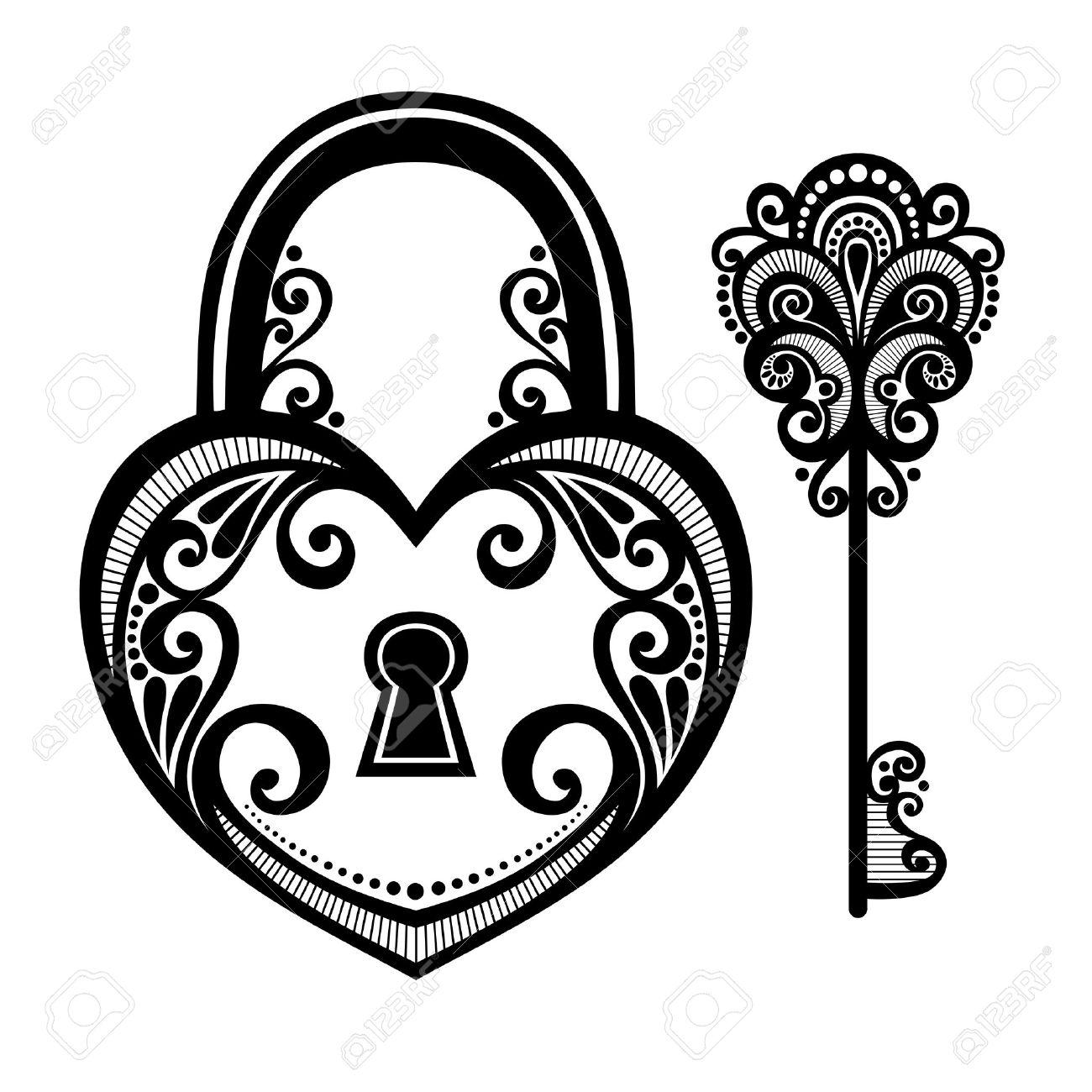Vector Vintage Lock with a Key - 26617443