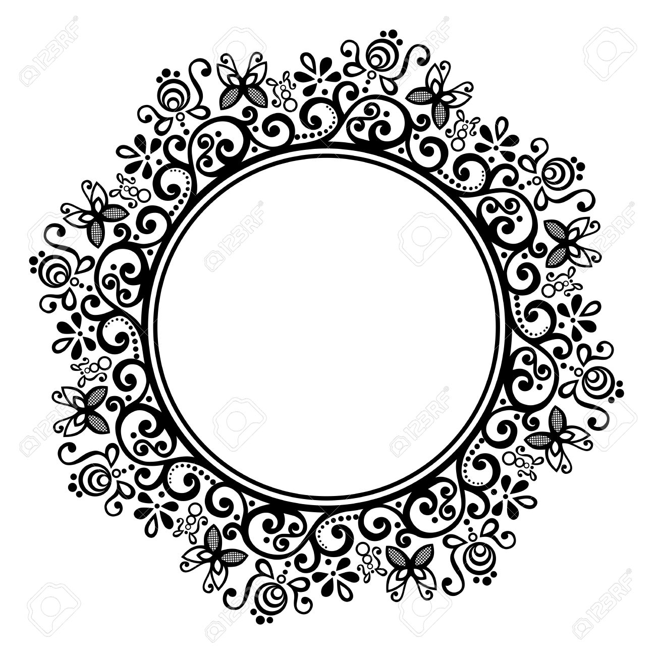 Set Of Decorative Round Frames Royalty Free Cliparts, Vectors, And ...