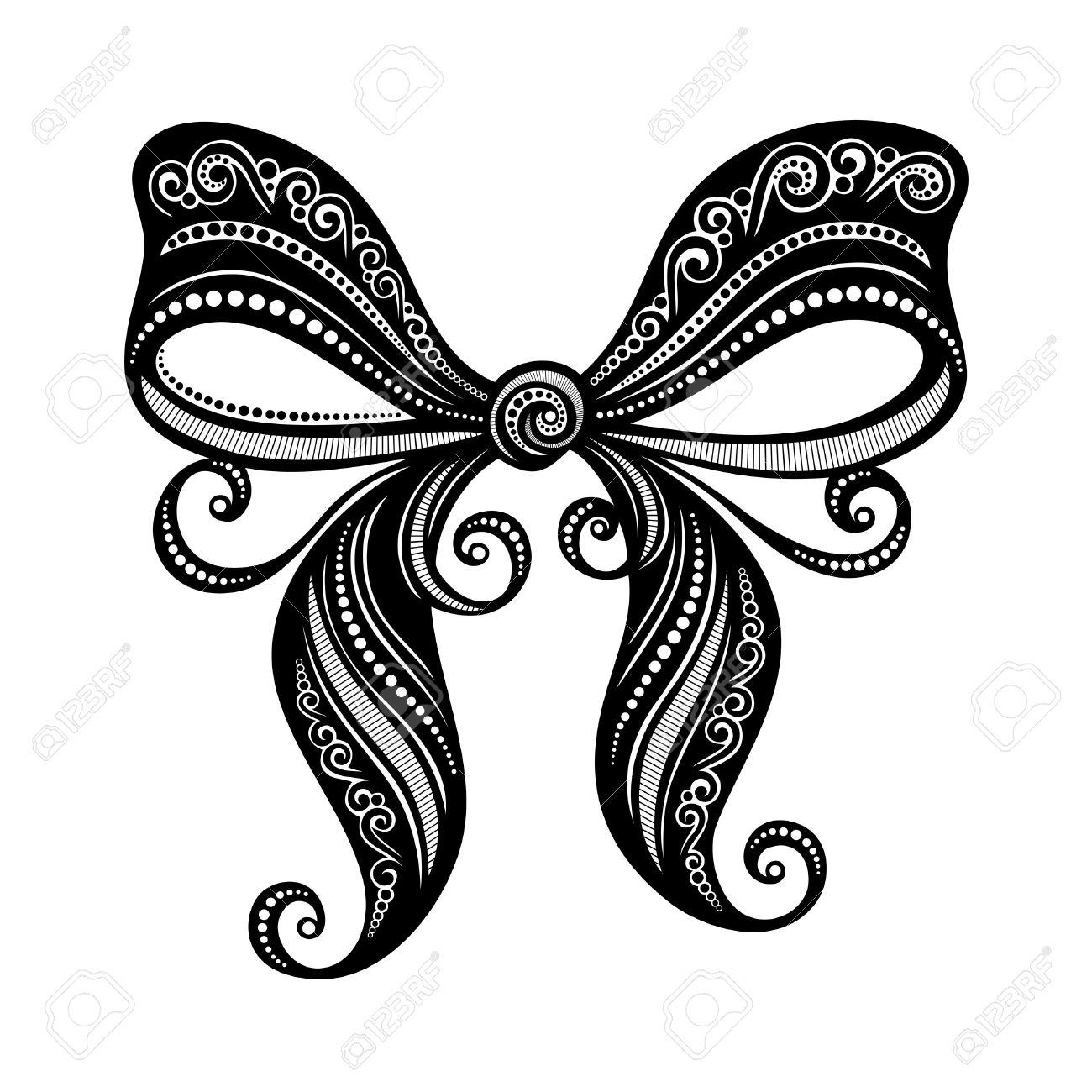 ornamental decorative bow vector patterned design royalty free rh 123rf com bow vector free bow vector black and white