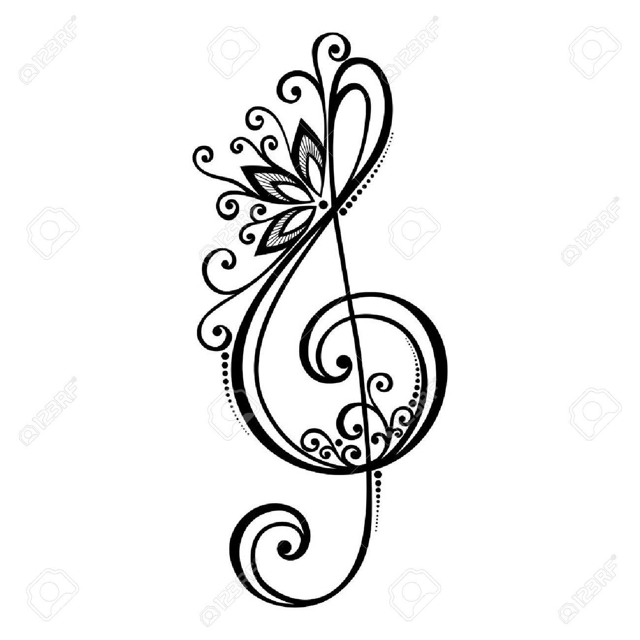 Vector Floral Dekorative Violinschlüssel Gemusterte Musical Anmelden  Lizenzfrei Nutzbare Vektorgrafiken, Clip Arts, Illustrationen. Image  29778478.