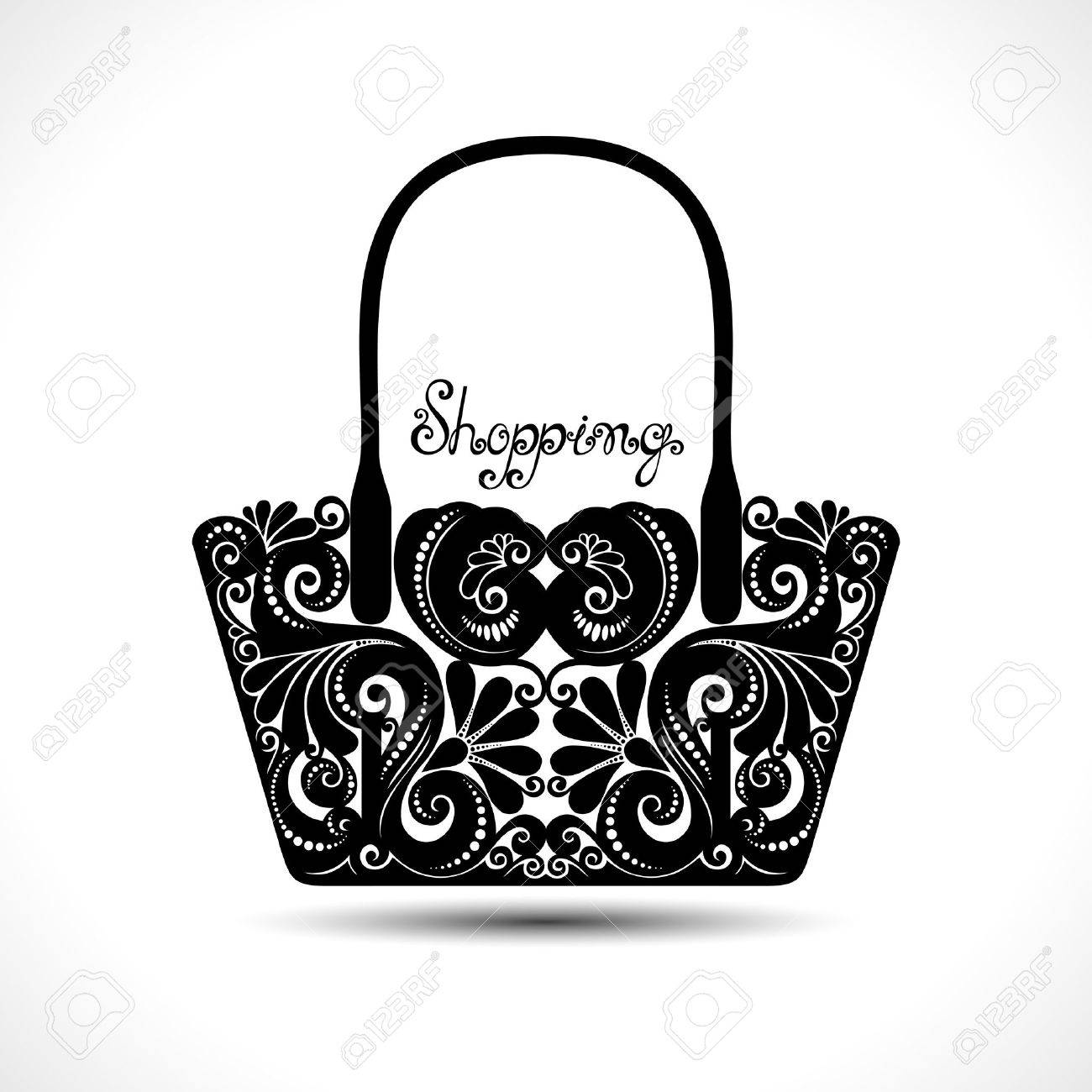 Vector Decorative Ornate Women\'s Bag. Template Of Sale Flyer Royalty ...