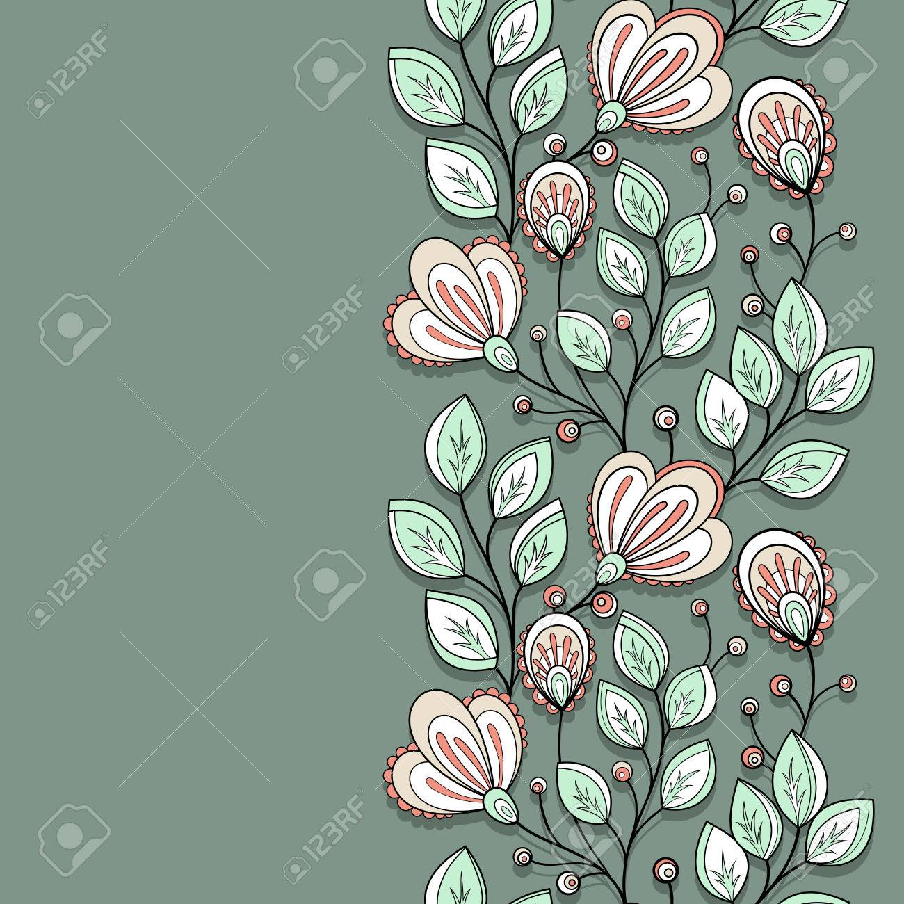 Vector Colored Floral Background. Hand Drawn Texture With Flowers ...