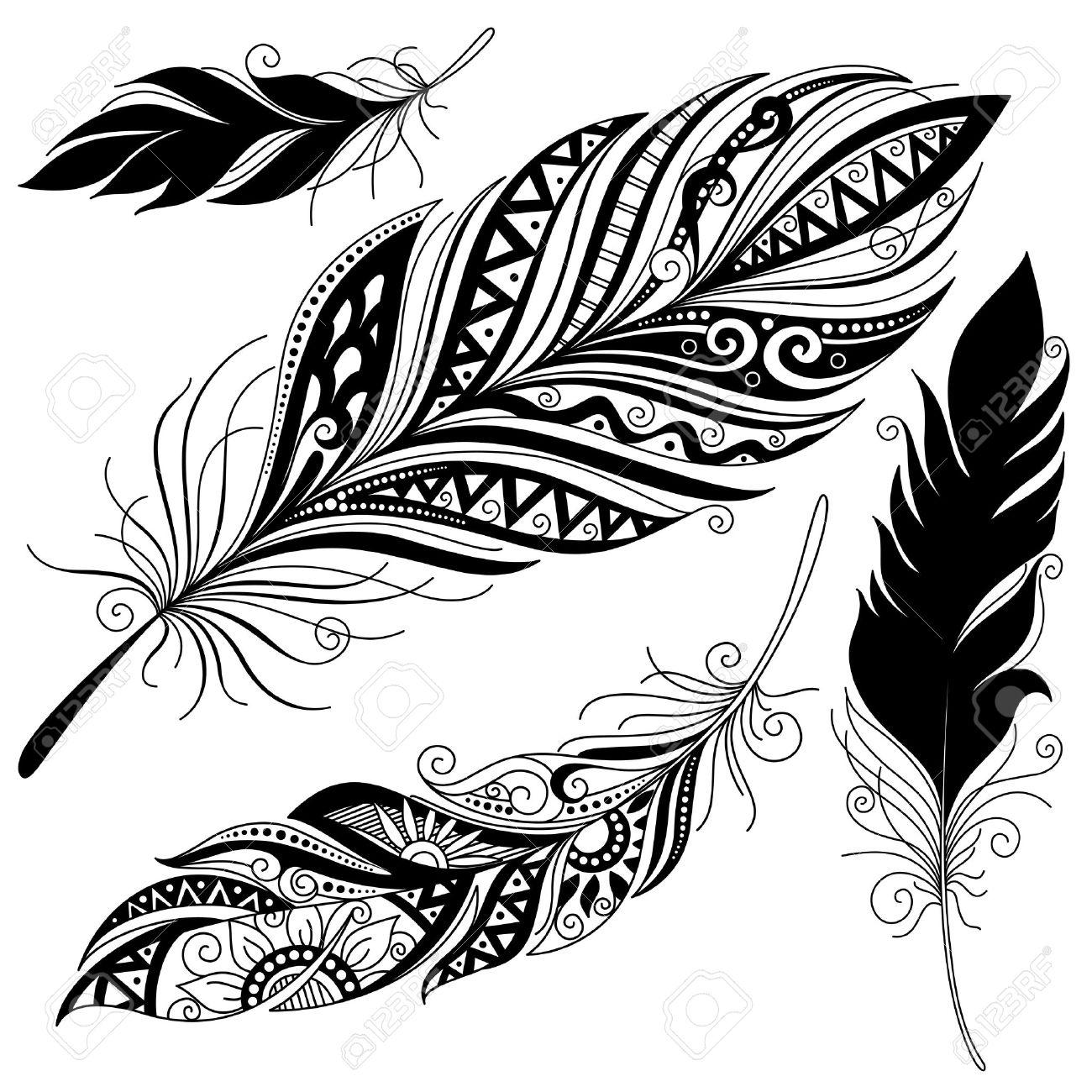 Vector peerless decorative feather tribal design tattoo stock vector 38844788