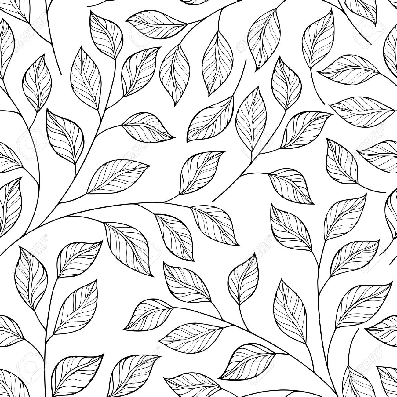 Vector seamless contour floral pattern hand drawn monochrome floral texture decorative leaves coloring