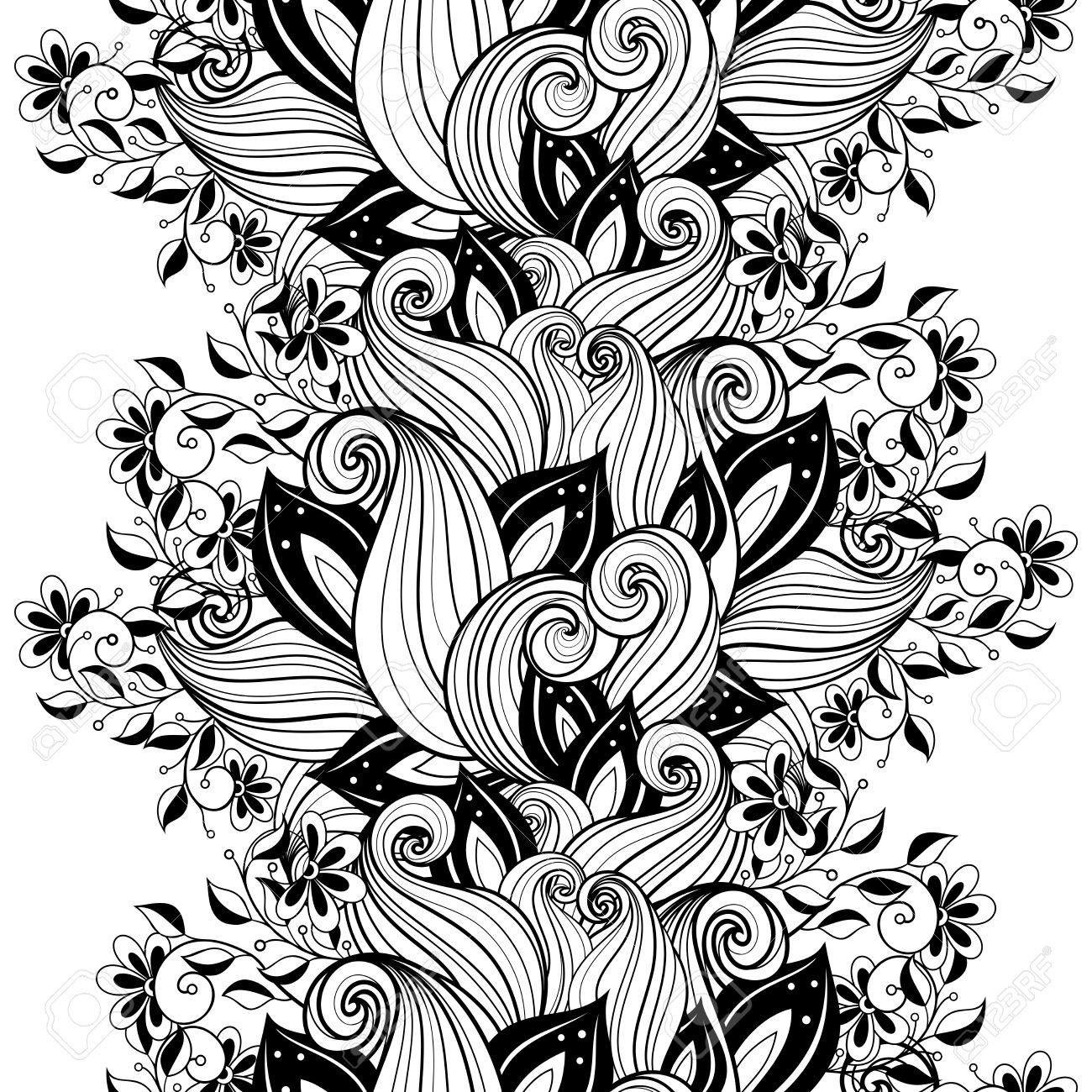 Vector Seamless Monochrome Floral Pattern Hand Drawn Texture Decorative Flowers Coloring Book