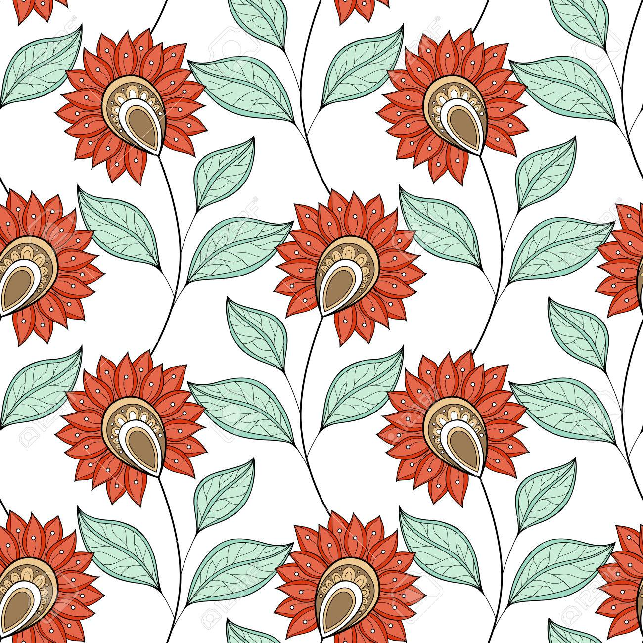 Seamless Floral Pattern. Hand Drawn Floral Texture, Decorative ...
