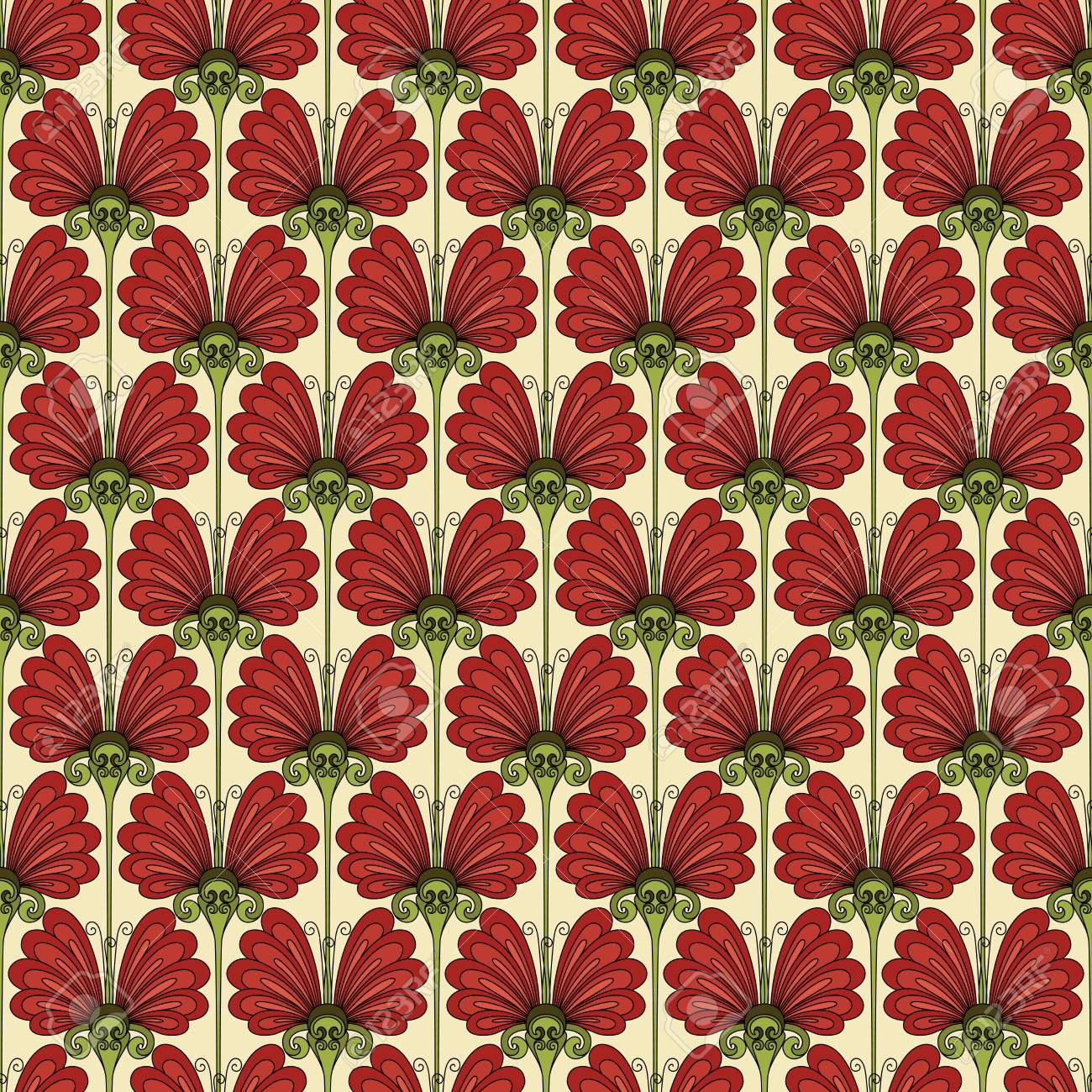 Vector Seamless Floral Pattern. Hand Drawn Floral Texture ...
