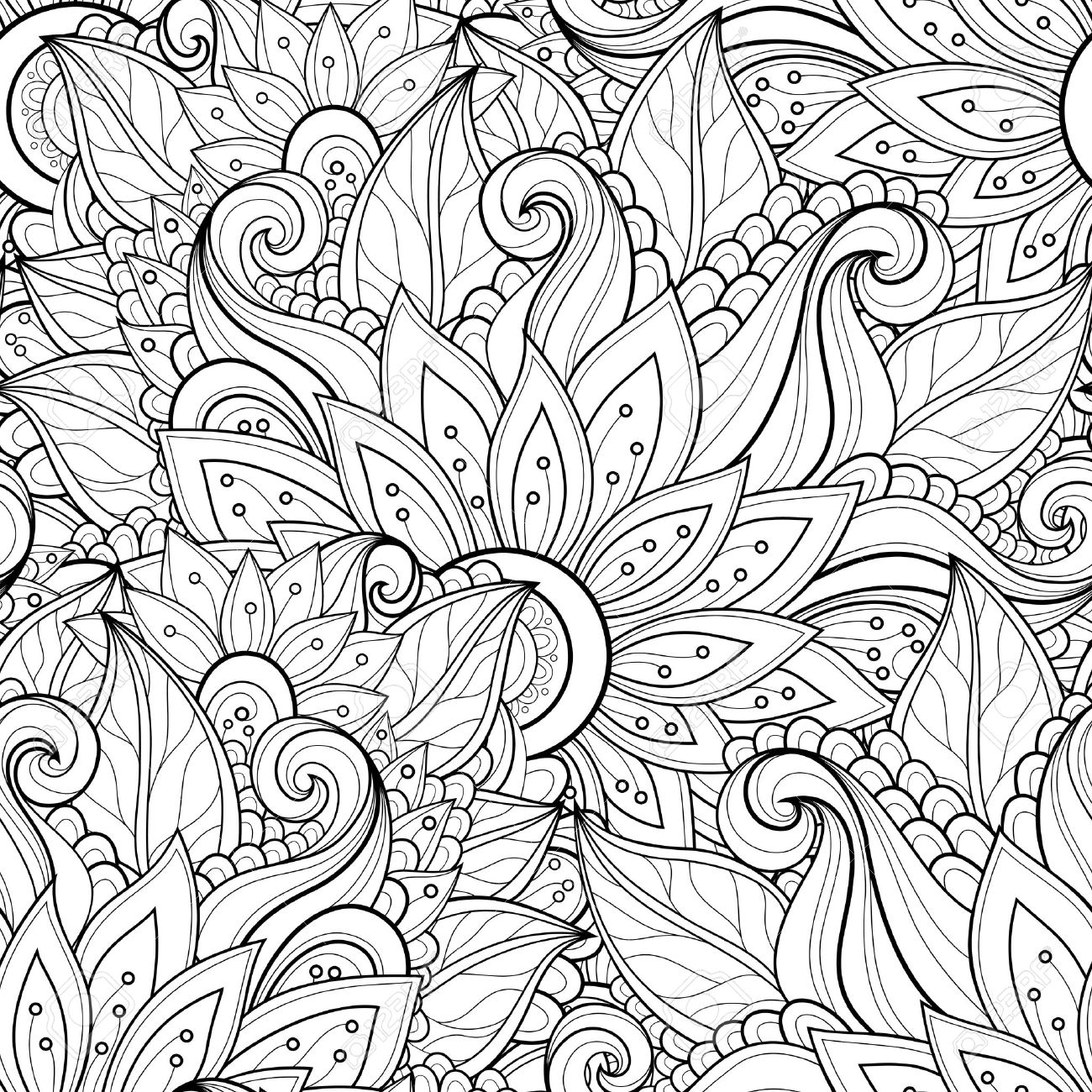 Vector Seamless Monochrome Floral Pattern. Hand Drawn Floral ...