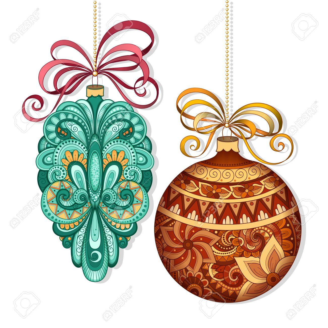 Vector Adornado De Colores Decoraciones De Navidad Objetos Con