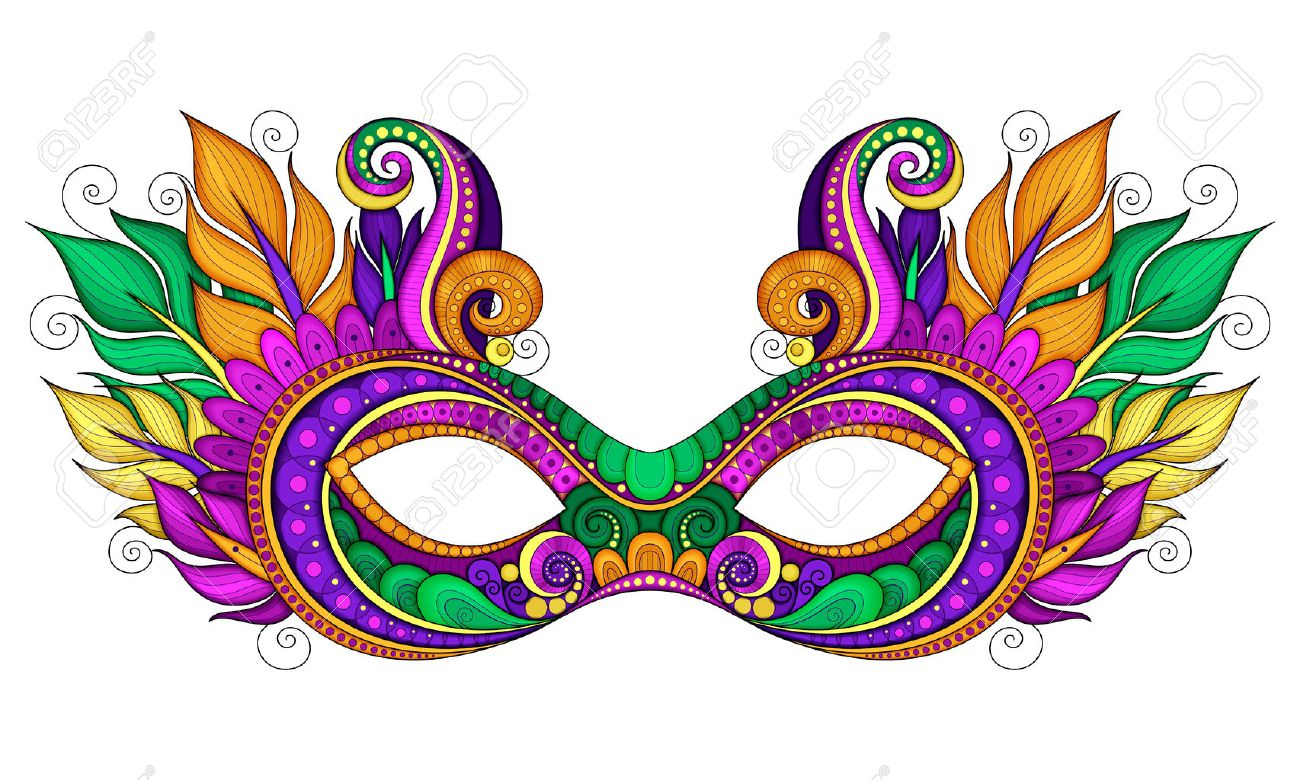 Vector Ornate Colored Mardi Gras Carnival Mask with Decorative Feathers. Object for Greeting Cards with Harlequin Colors, Isolated on White Background - 50797284