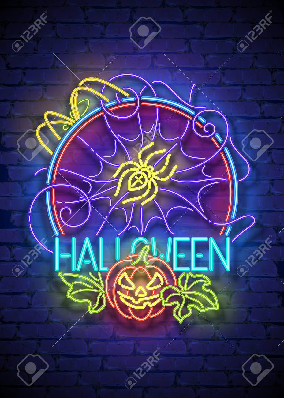 Glückliche Halloween-Gruß-Karten-Schablone. Glänzende Neonlampen ...