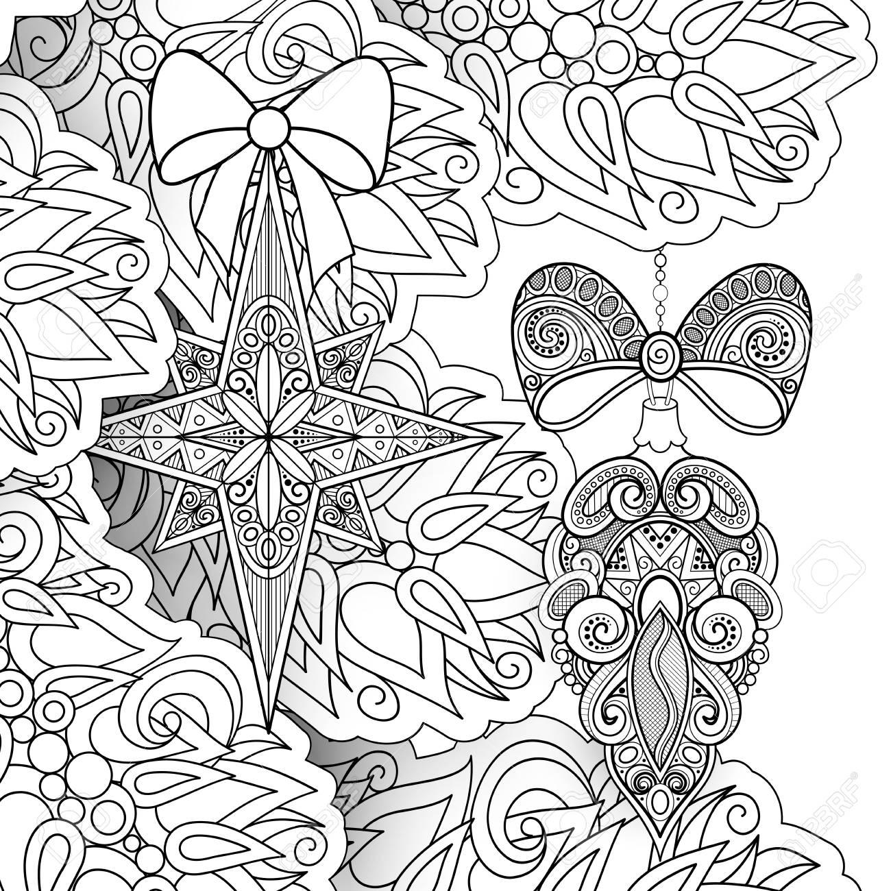 Ilustración De Navidad Feliz Monocromo Motivos étnicos Bolas Arcos Decoraciones De Estrellas En El árbol Fondo De Vacaciones En Doodle Line