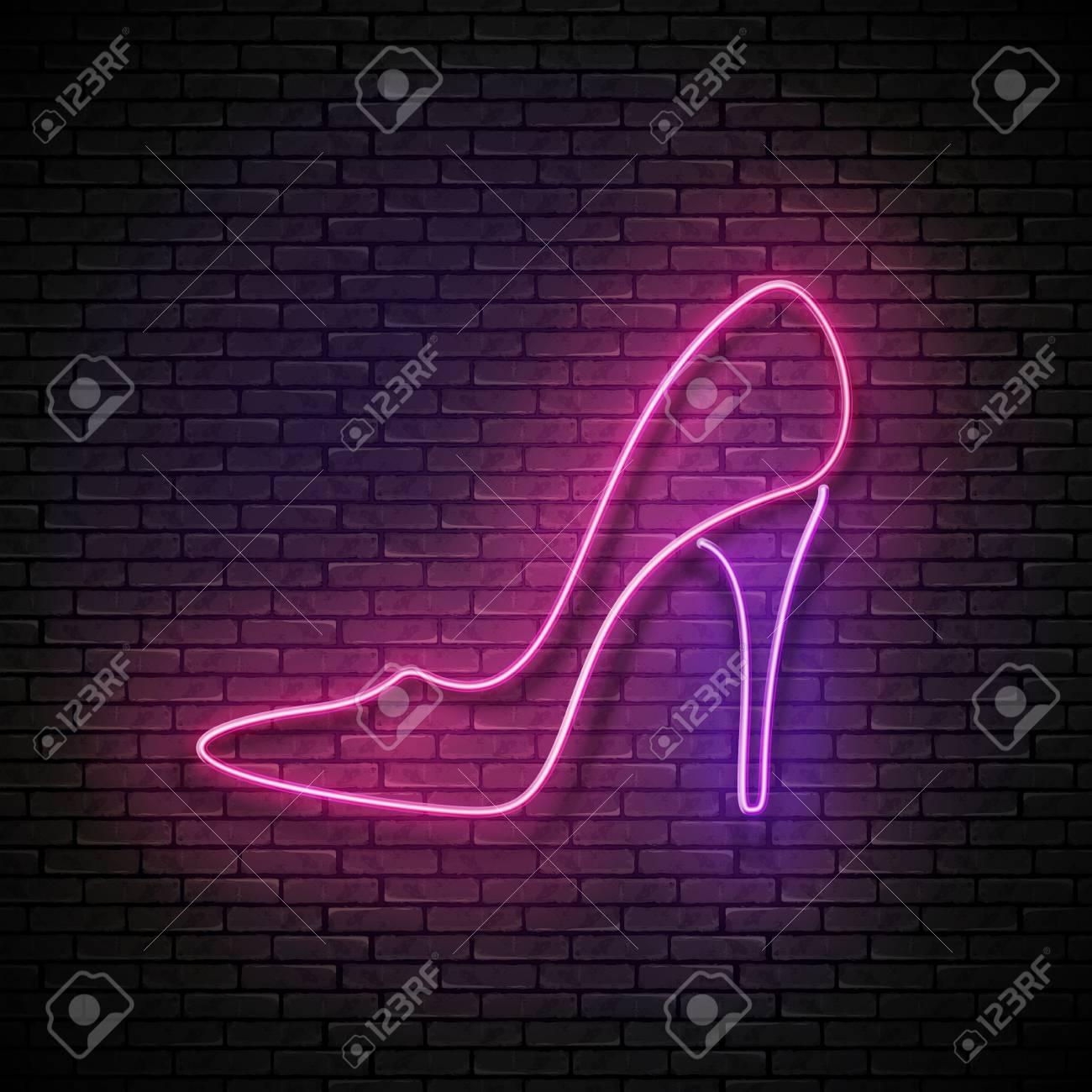 5deef6c9a13 Vintage Glow Signboard with Pink High Heel Shoe