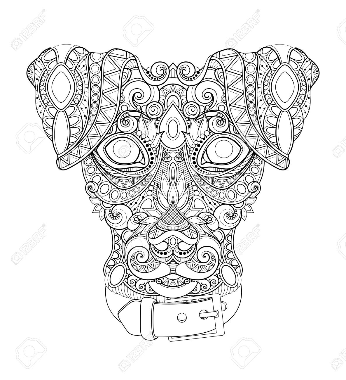 Monochrome Decorative Dog, Human Best Friend Face. Doodle Style. Patterned Tribal Design. Symbol of the 2018 New Year by Chinese Horoscope. Coloring Book Page. Vector Contour Illustration - 109878444