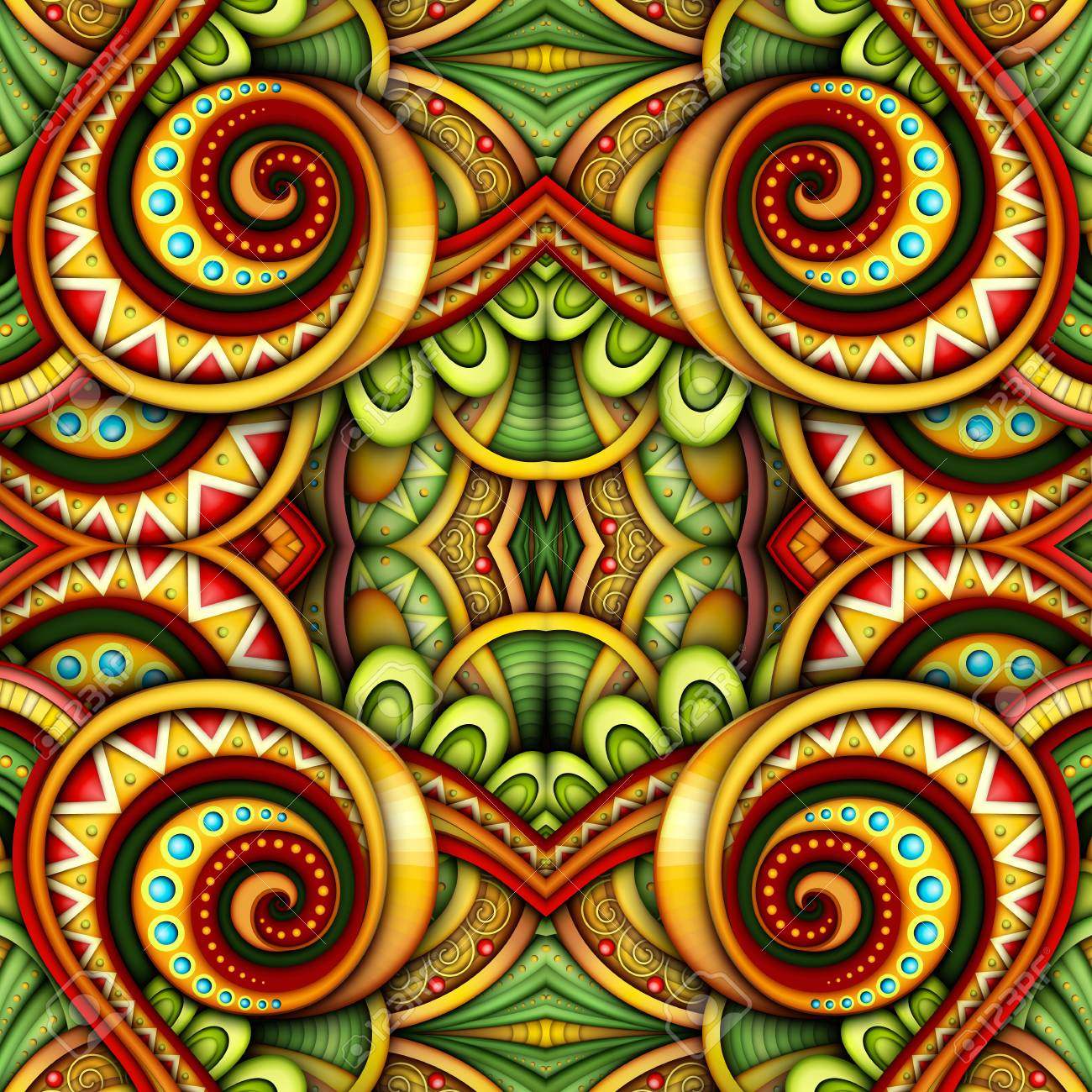 Colored Seamless Tile Pattern, Fantastic Kaleidoscope. Endless Ethnic Texture with Abstract Design Element. Khokhloma, Gypsy, Paisley Garden Style. Realistic Glossy Ornament. Vector 3d Illustration - 126287382