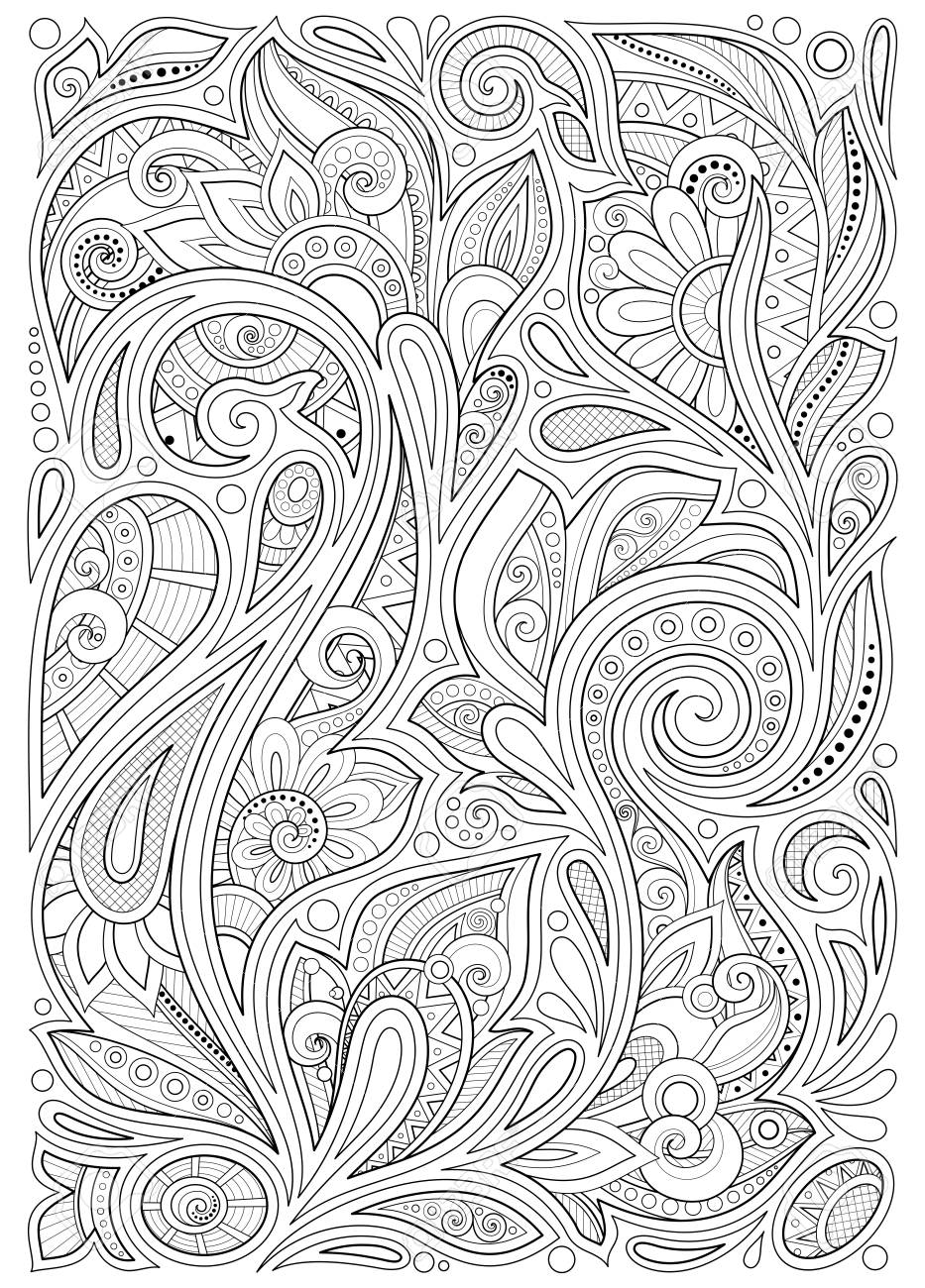 Monochrome Floral Background in Paisley Garden Indian Style. Decorative Composition with Flowers. Natural Doodle Motifs. Coloring Book Page. Vector Contour Illustration. Abstract Ornate Art - 125196648