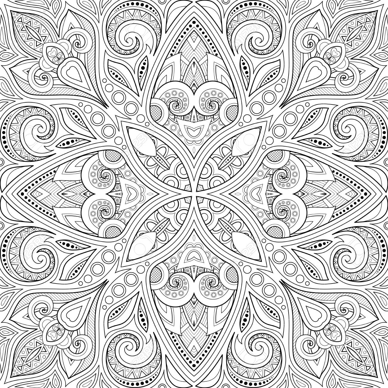 Monochrome Seamless Pattern with Mosaic Motif. Endless Floral Texture in Paisley Indian Style. Tile Ethnic Background. Coloring Book Page. Vector Contour Illustration. Abstract Mandala Art - 124784012