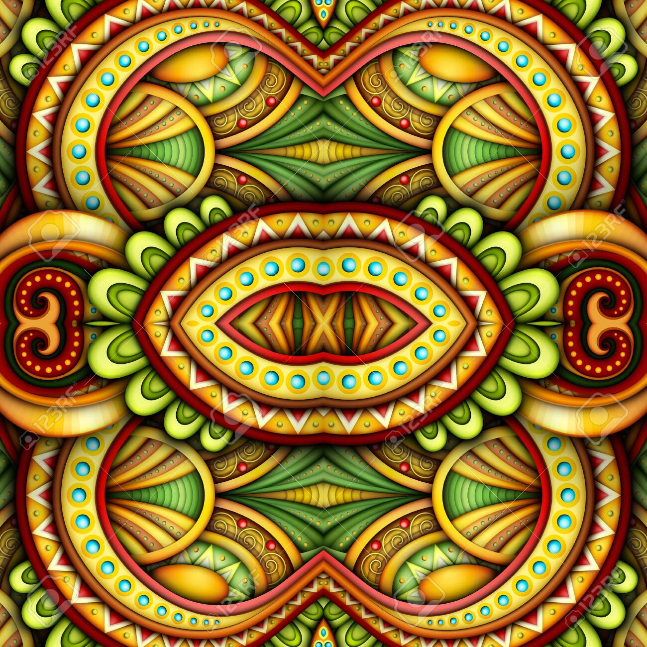 Colored Seamless Tile Pattern, Fantastic Kaleidoscope. Endless Ethnic Texture with Abstract Design Element. Khokhloma, Gypsy, Paisley Garden Style. Realistic Glossy Ornament. Vector 3d Illustration - 123982902