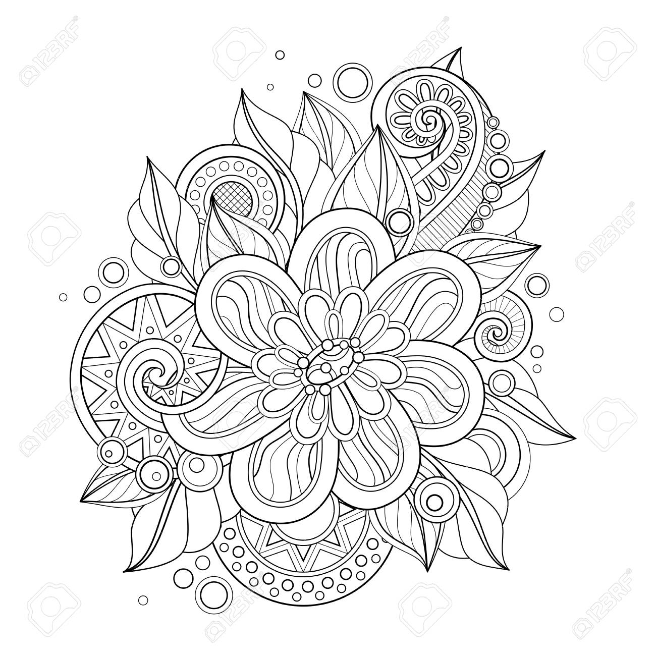 Monochrome Floral Illustration in Doodle Style. Decorative Composition with Flowers, Leaves and Swirls. Elegant Natural Motif. Coloring Book Page. Vector Contour Art. Abstract Design Element - 126286514