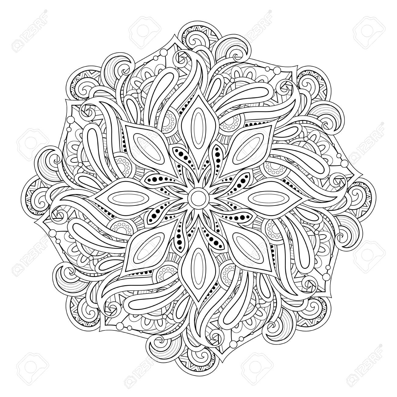 Monochrome Beautiful Decorative Mandala. Paisley Indian Symbol. Yoga, Meditation Design Element. Coloring Book Page, Art Therapy. Vector Contour Illustration - 132033852
