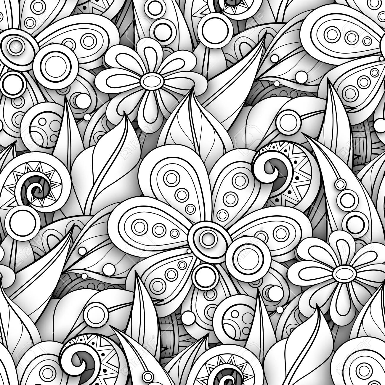 Monochrome Seamless Pattern with Floral Motifs. Endless Texture with Flowers, Leaves etc. Natural Background in Doodle Line Style. Coloring Book Page. Vector 3d Contour Illustration. Abstract Art - 132034108