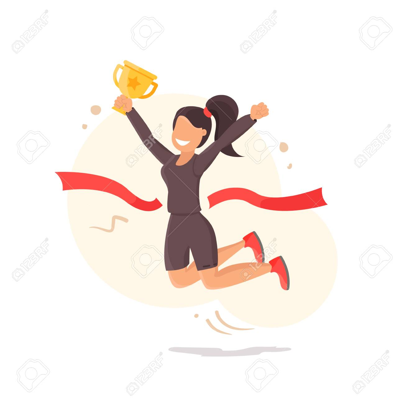 Goal achievement vector concept, flat style happy successful woman holding golden cup award in hand - 91210585