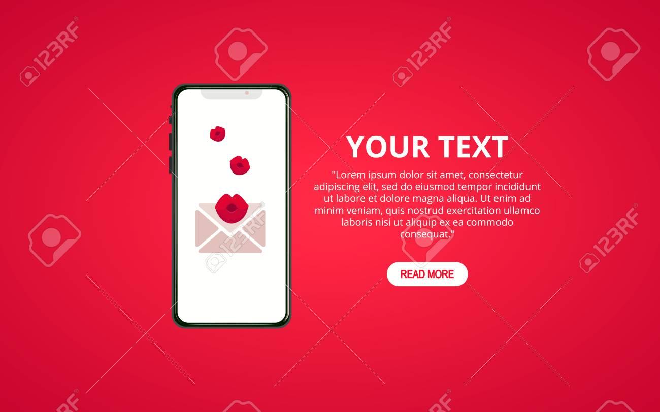 Valentine's day illustration  Send or receive love sms  Cellphone