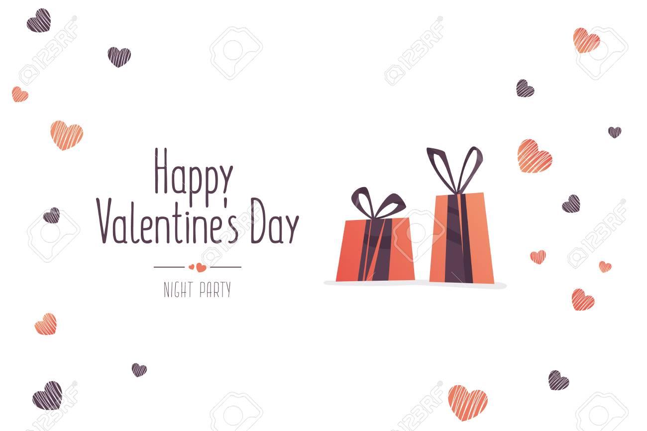 Grande Vente De La Saint Valentin Dépliant Créatif Avec Texte Joyeux Saint Valentin Avec Amour Icônes De Cadeaux