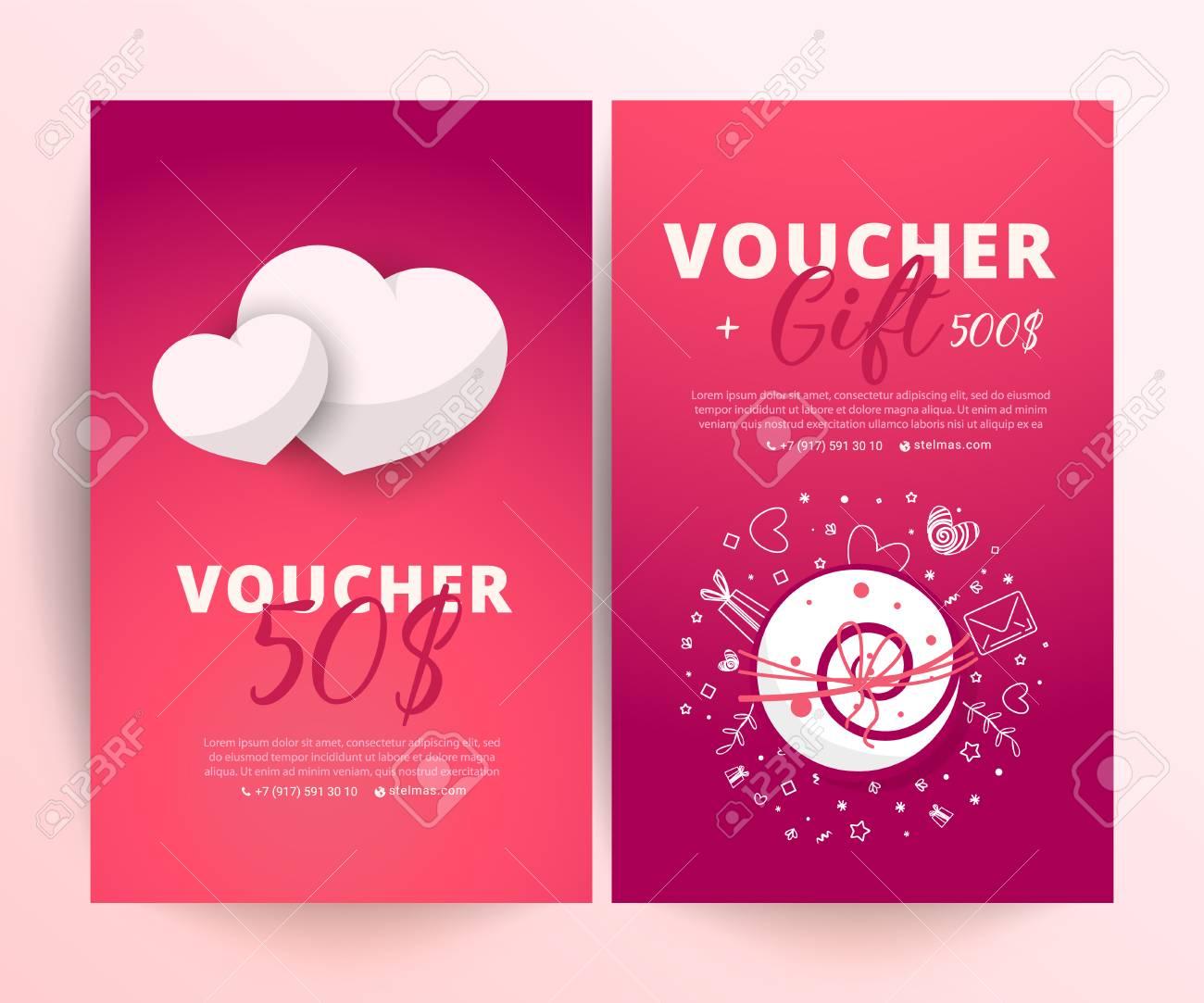 Valentine S Day Voucher Bright Set Of Gift Voucher 500 Dollars