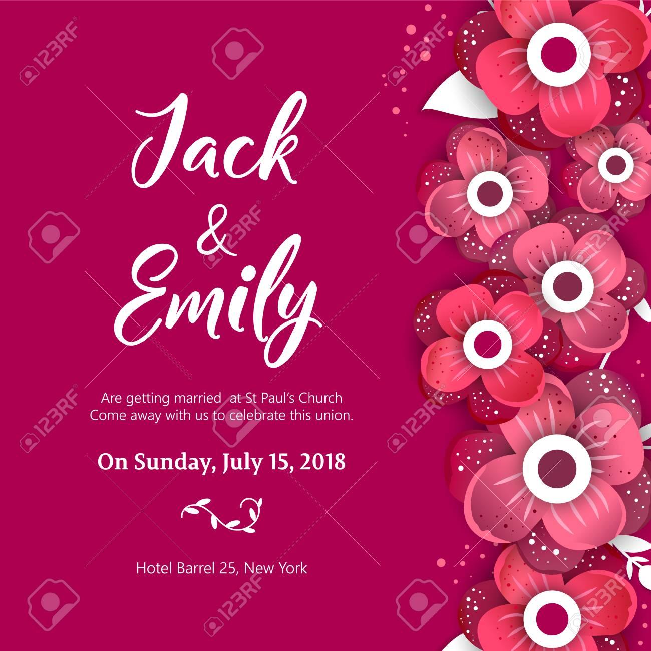 Wedding Invitation, Floral Invite Card Design Wedding Invite.. Royalty Free  Cliparts, Vectors, And Stock Illustration. Image 95968938.