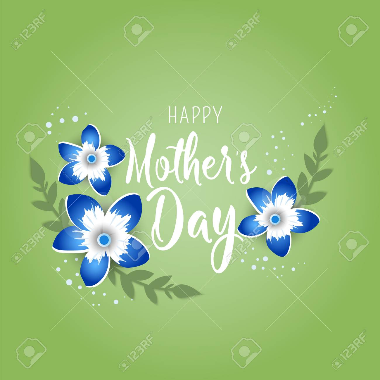 Happy Mothers Day Poster3d Illustration With Red Origami Flowers