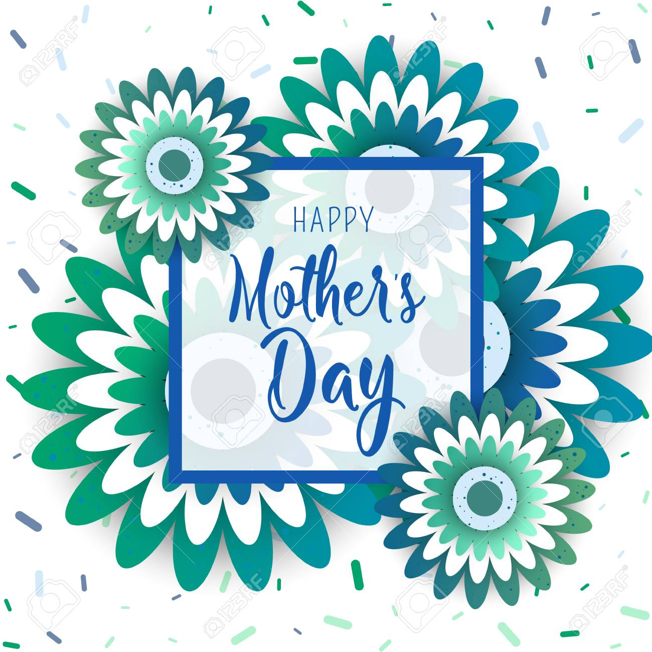 template design poster for happy mothers day with bright flowers trendy design template vector