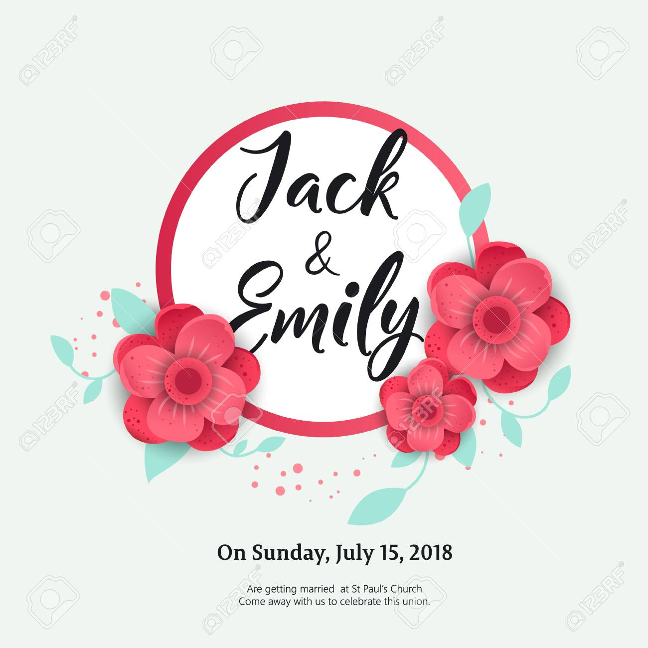Wedding Invitation Floral Invite Card Design Wedding Invite