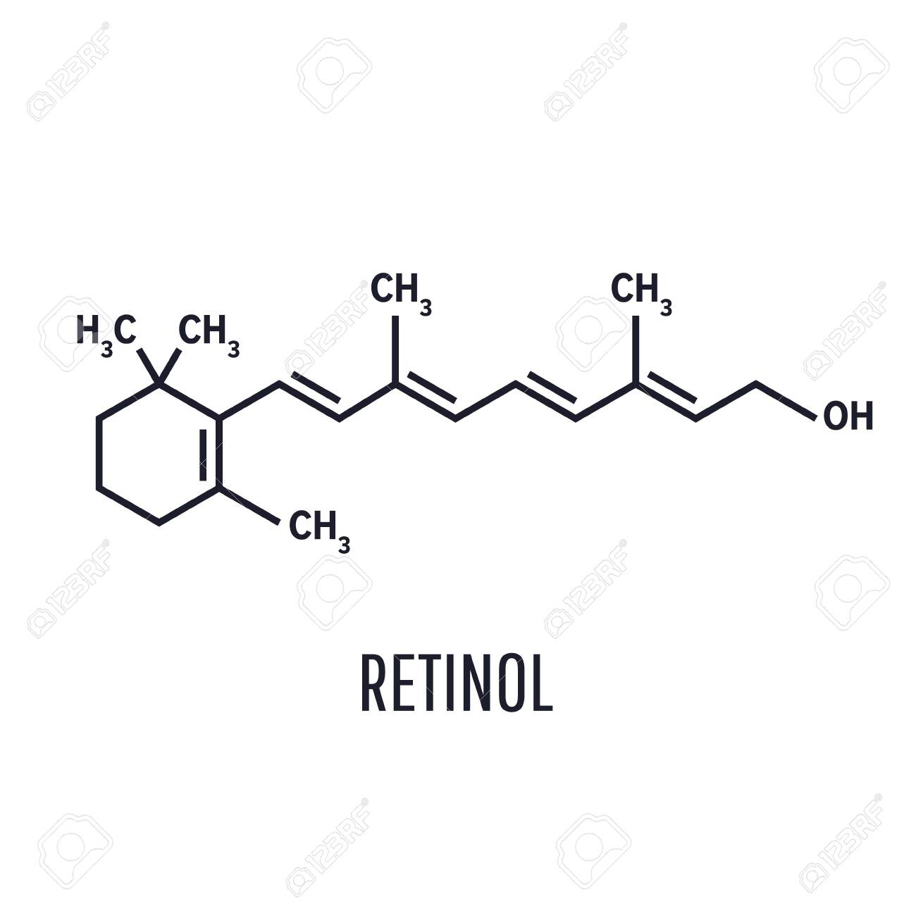 Vitamin A Retinol Molecule. Skeletal Formula .Retinol, Vitamin.. Royalty  Free Cliparts, Vectors, And Stock Illustration. Image 122041667.