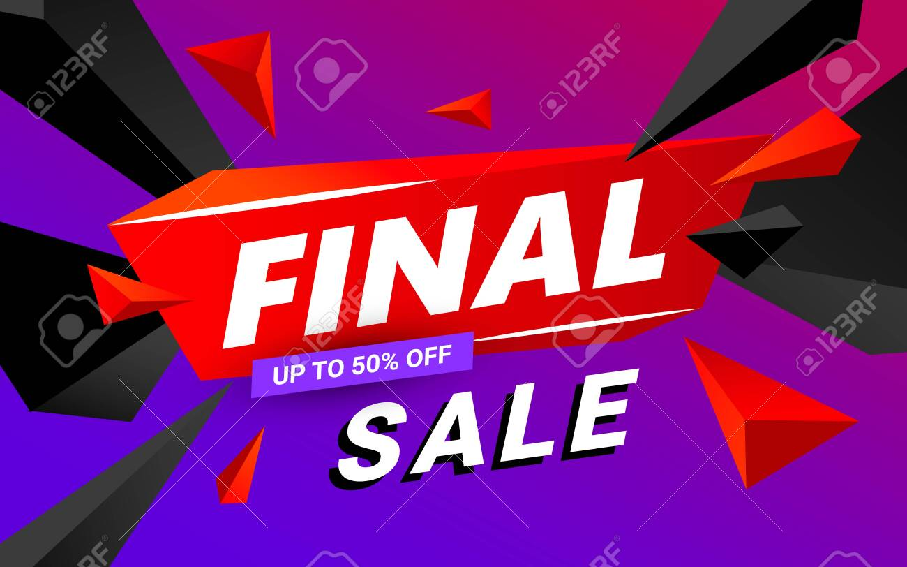 Final sale banner design editable template. Big sale, special offer, discounts. Vector illustration. - 131969759