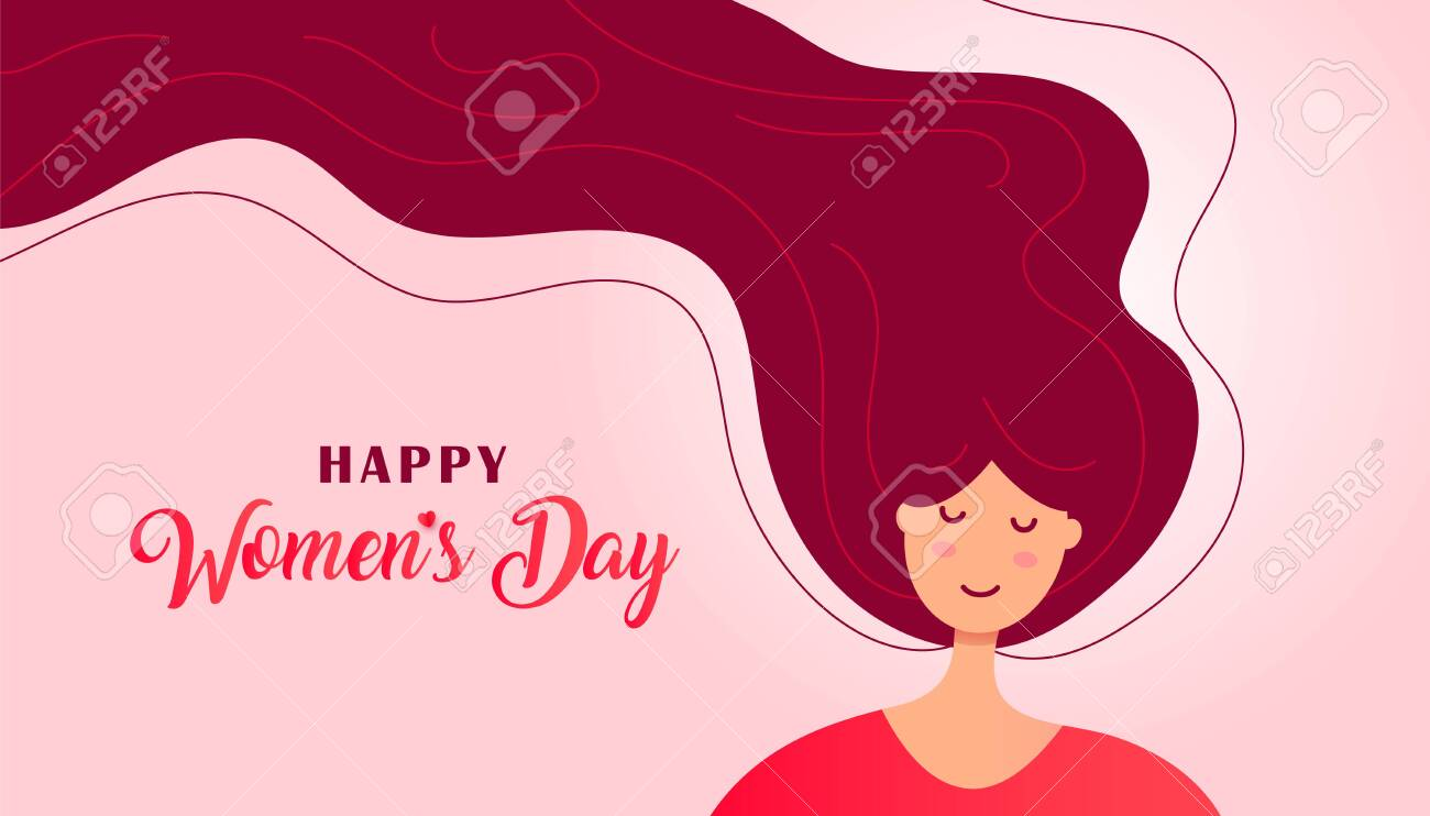 Creative Womens Day greeting card with cute face of a woman or girl with flying hair on a white background. Vector illustration - 140166288