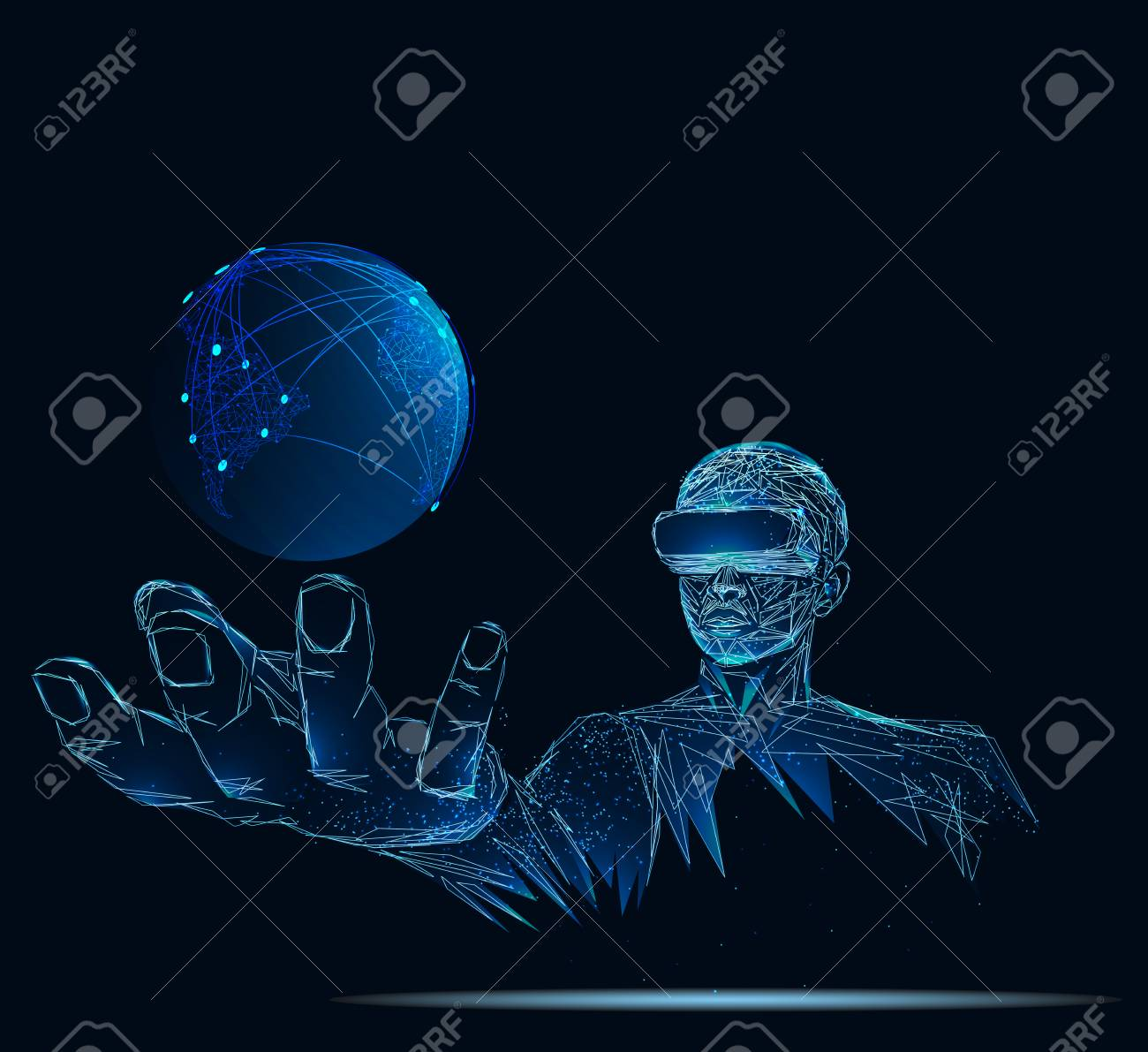 Earth globe against man executive using virtual reality simulator