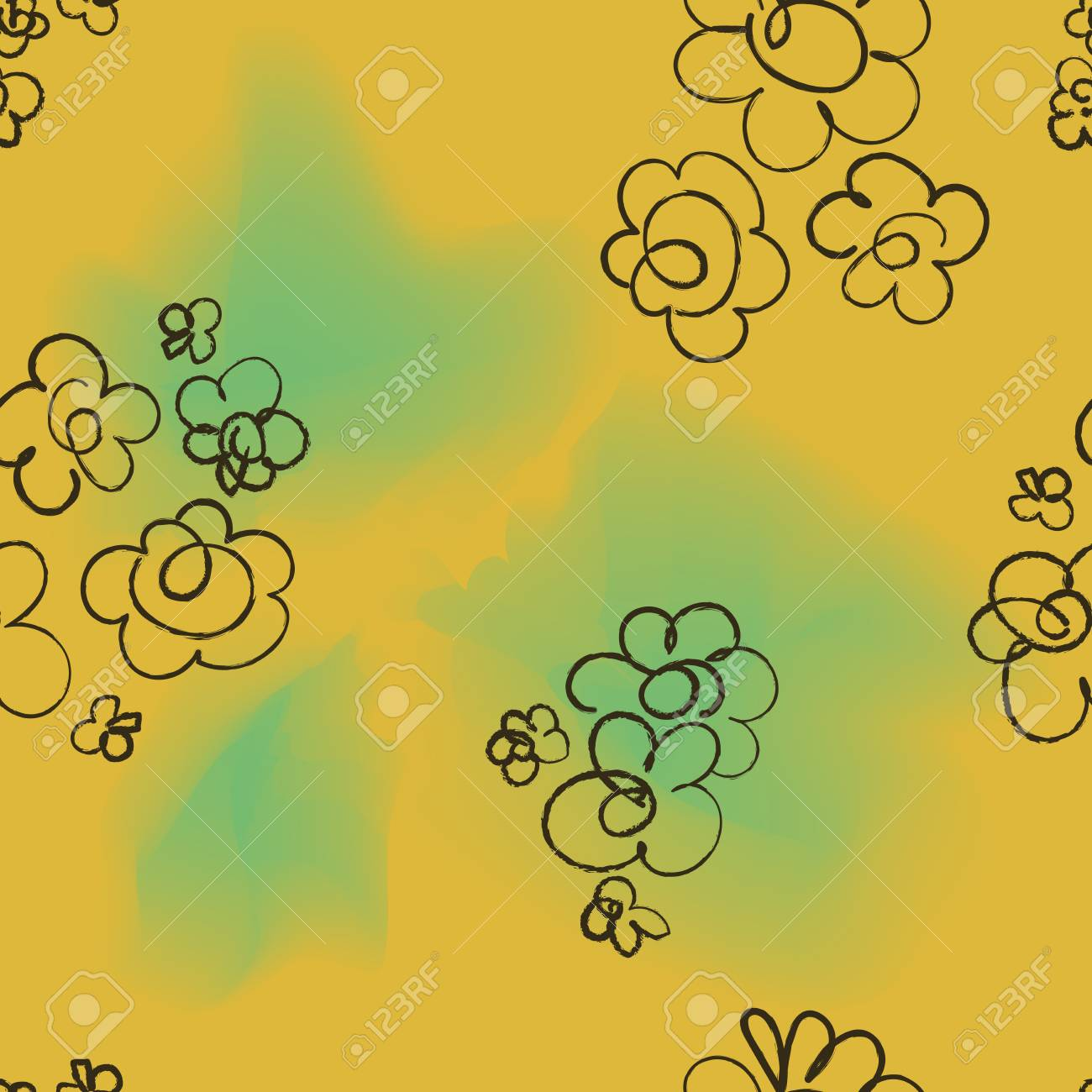 Trendy seamless floral watercolor ditsy pattern. Fabric design with simple flowers. Vector scandinavian repeated pattern for fabric, wallpaper or wrap paper. - 125051456