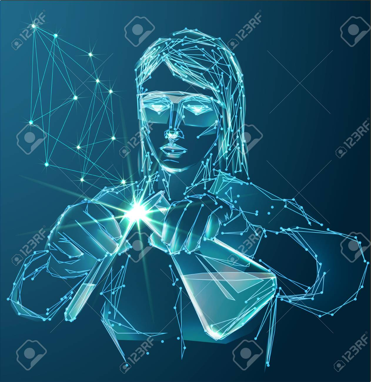 Vector of modern science abstract polygonal background with scientific laboratory assistant in lab with test tubes. - 125051467