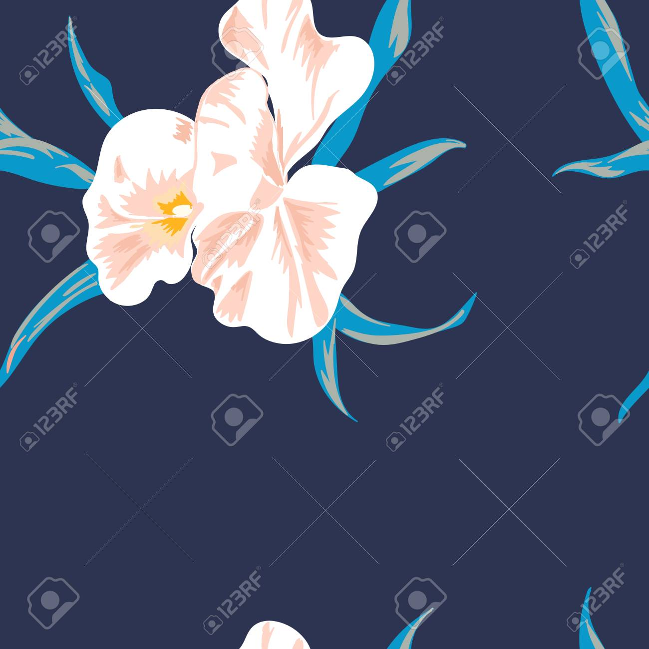 Floral seamless pattern with beautiful pink flowers.Tropical design. Exotic flowers. Pattern for summer fashion prints. Blooming jungle. Dark blue background. Vector illustration. - 125051468