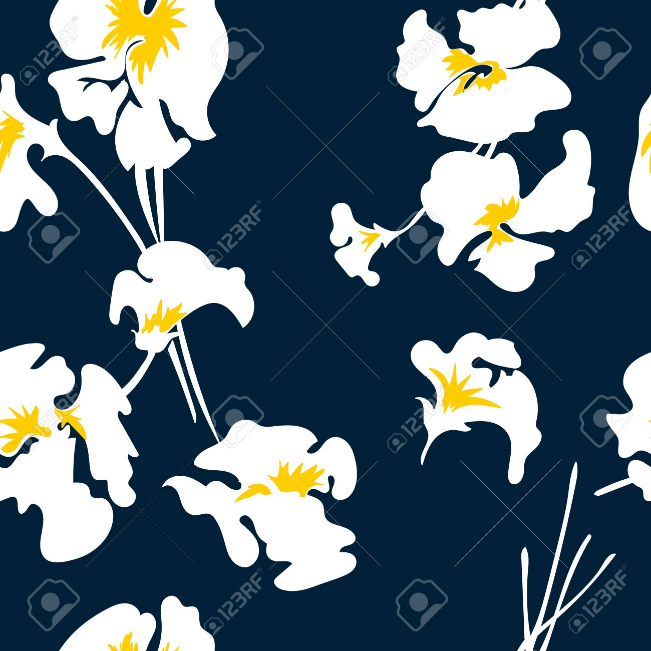 Floral seamless pattern with beautiful pink flowers.Tropical design. Exotic flowers. Pattern for summer fashion prints. Blooming jungle. Dark blue background. Vector illustration. - 125051479