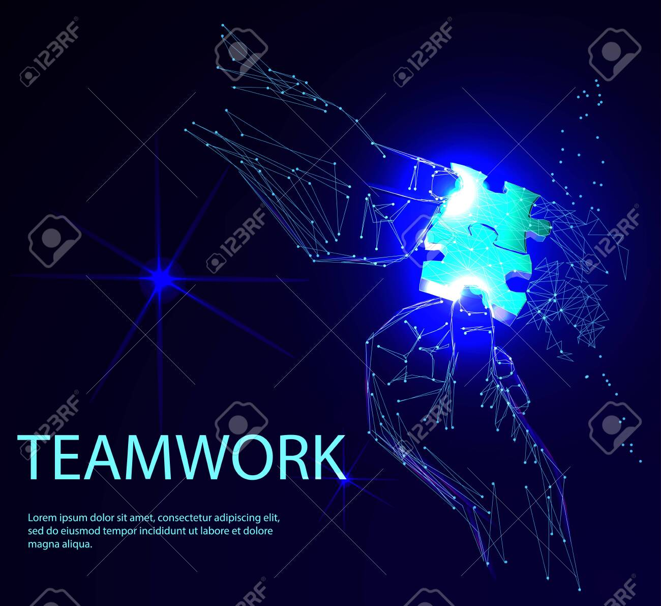 Group of business people assembling jigsaw puzzle. Low polygonal geometric vector illustration - 123516896