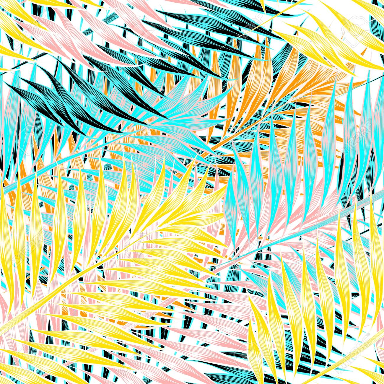 Seamless pattern of tropical leaves of palm tree - 123516899