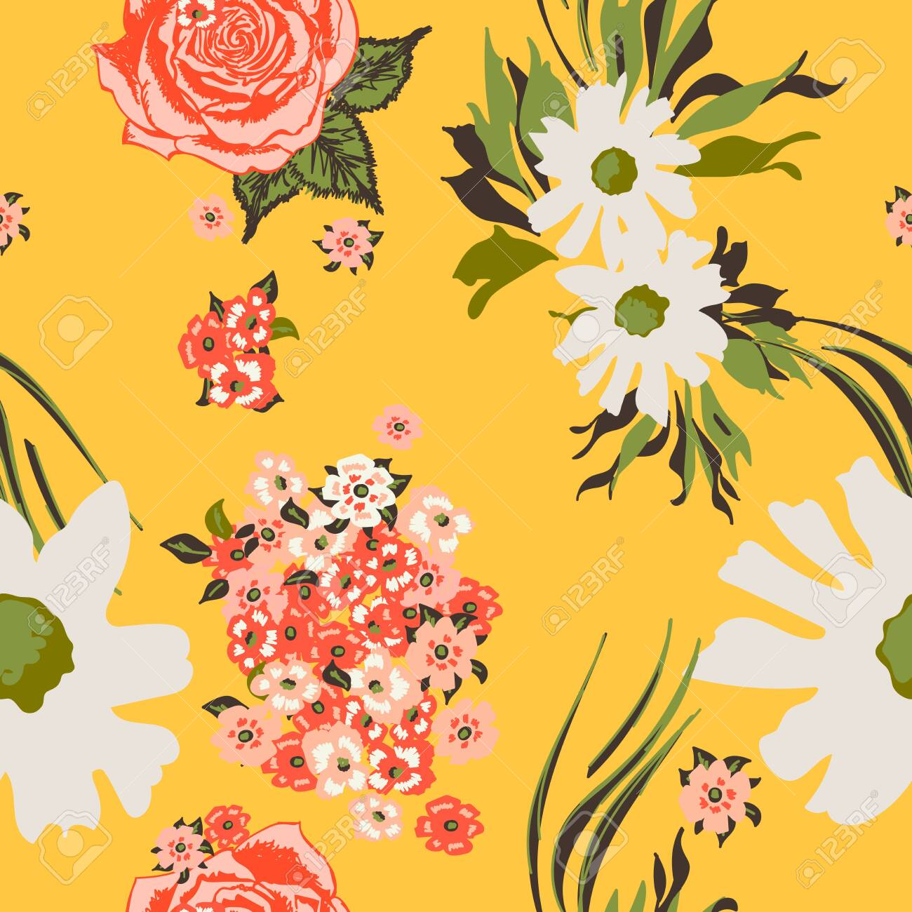 Floral seamless pattern with beautiful pink roses and white flowers.Tropical design. Exotic flowers. Pattern for summer fashion prints. Blooming jungle. Yellow background. Vector illustration. - 123516906