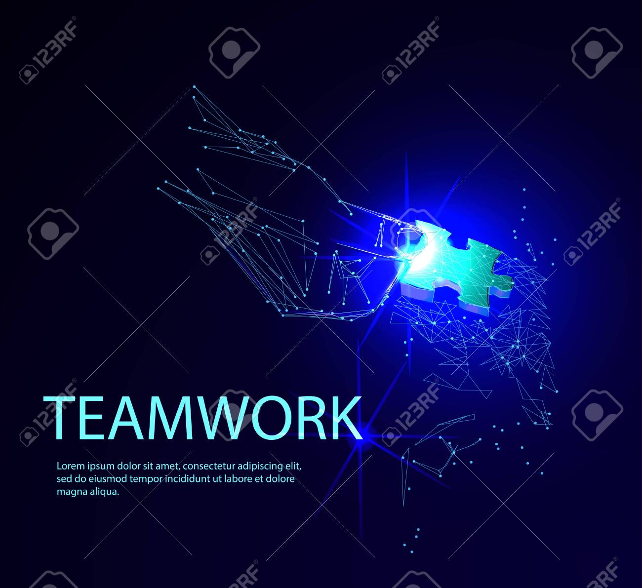 Abstract puzzle on dark blue background. Network or teamwork symbol composed of polygons. Low poly vector illustration of a starry sky or Cosmos, consists of lines, dots and shapes - 123516916