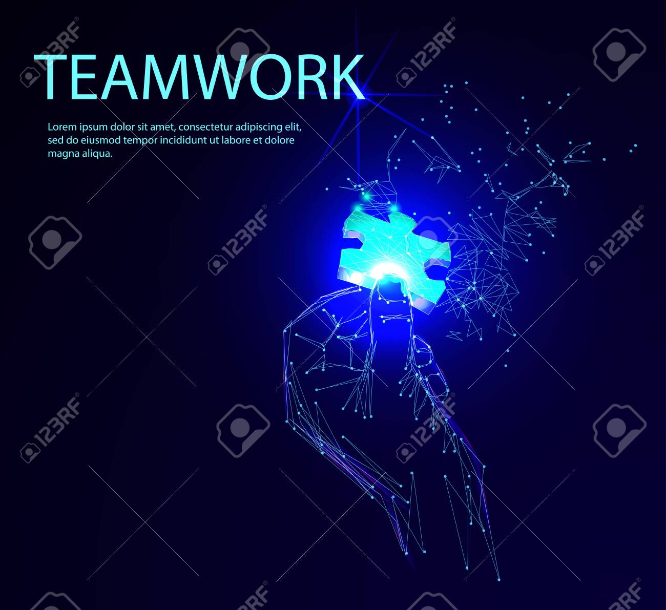 Abstract puzzle on dark blue background. Network or teamwork symbol composed of polygons. Low poly vector illustration of a starry sky or Cosmos, consists of lines, dots and shapes - 123516917