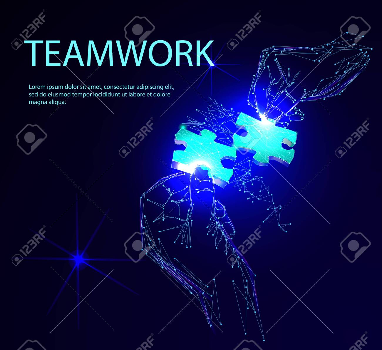 Group of business people assembling jigsaw puzzle. Low polygonal geometric vector illustration - 123516919